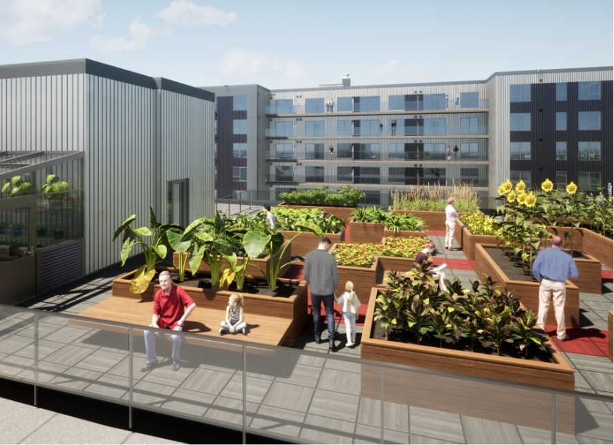 Image of the roof garden at QG Espace Centro