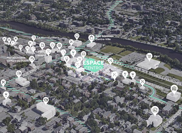 Carte de localisation de Espace Centro Sherbrooke sur la rue Wellington Sud